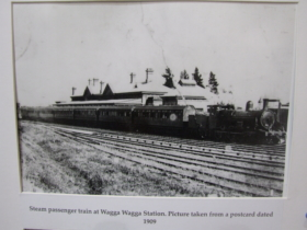Steam passenger train at Wagga Wagga Station. Picture taken from a postcard dated 1909